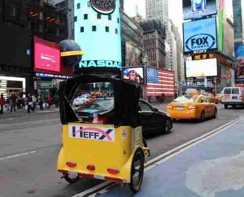 Pedicab advertising in Times Square New York NYC